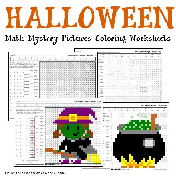 Halloween Math Mystery Pictures Coloring Worksheets Bundle - Printables &  Worksheets