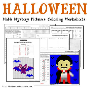 Halloween Coloring Worksheets - Math