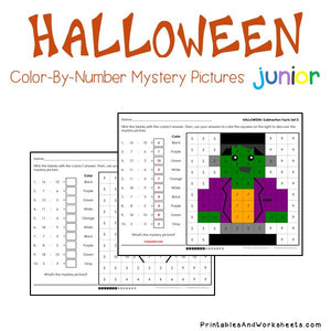 Halloween Color-By-Number: Subtraction