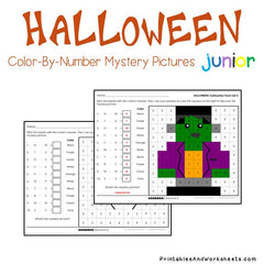 Halloween Subtraction Facts Color-By-Number