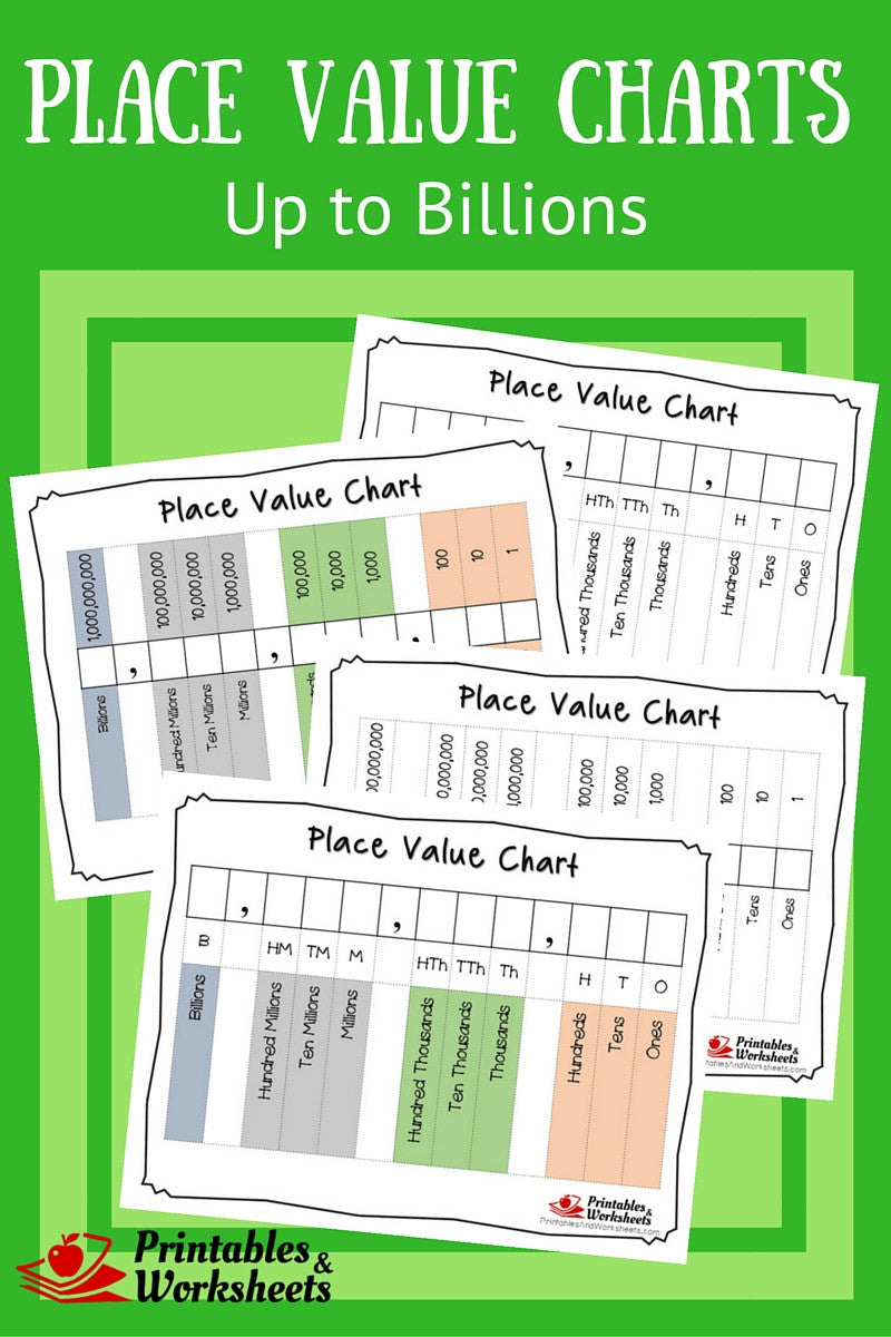 Place Value Charts To Billions