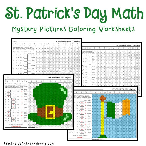 Saint Patrick's Day Coloring Worksheets - Addition