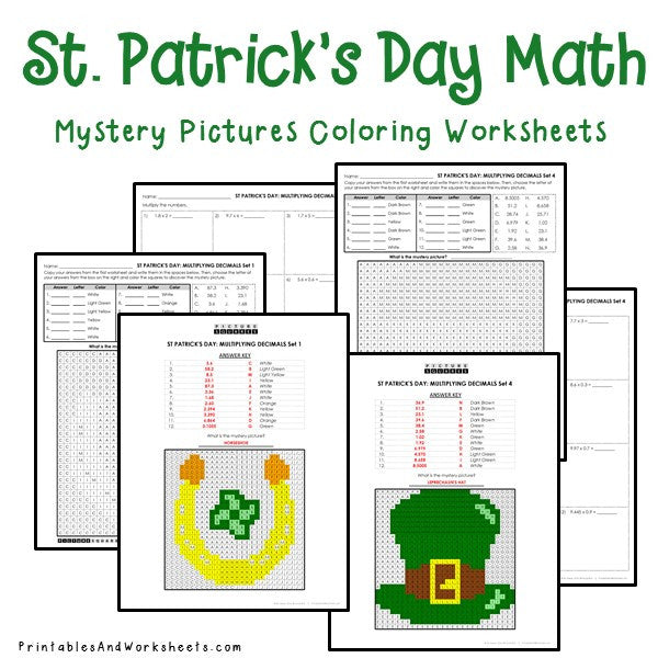 Saint Patrick's Day Coloring Worksheets - Decimals