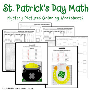 Saint Patrick's Day Coloring Worksheets - Fractions