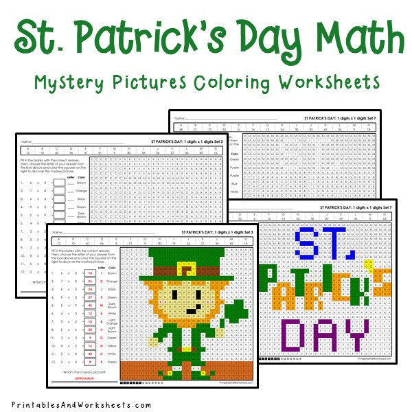 Saint Patrick's Day Coloring Worksheets - Multiplication