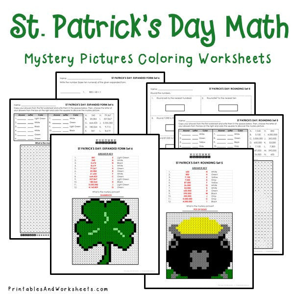 Saint Patrick's Day Coloring Worksheets - Place Value