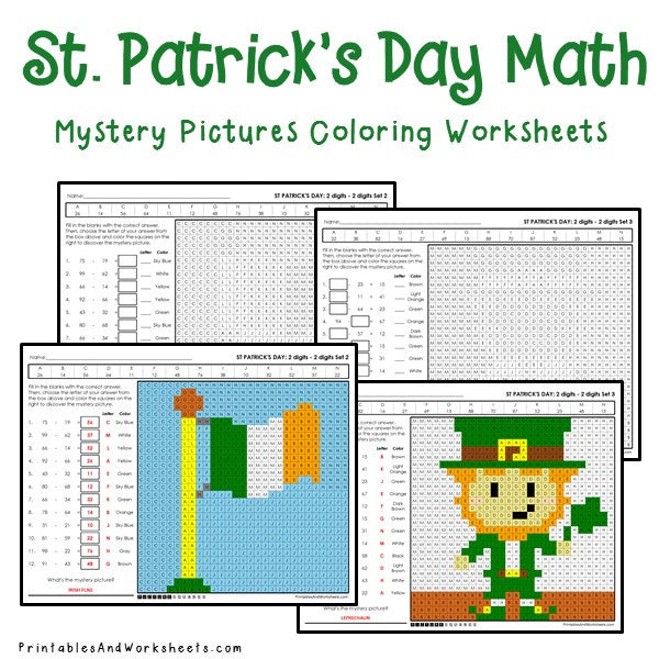 Saint Patrick's Day Coloring Worksheets - Subtraction