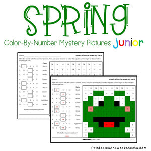 Spring Color By Number - Math