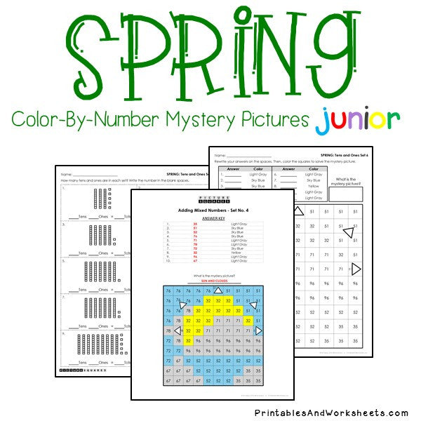 Spring Color By Number - Place Value