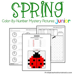 Spring Telling Time Color-By-Number