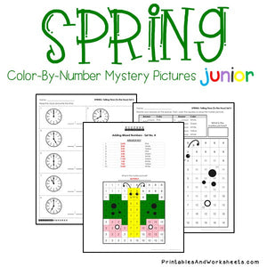 Spring Color By Number - Telling Time