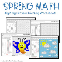 Spring Addition Mystery Pictures Coloring Worksheets