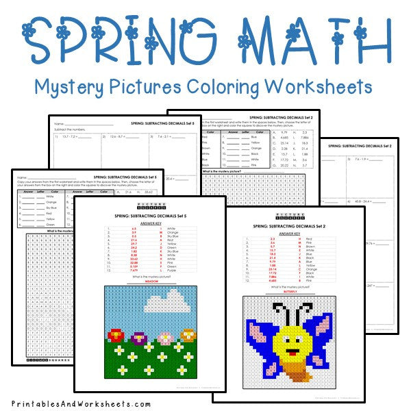 Spring Coloring Worksheets - Decimals