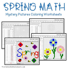 Spring Division Mystery Pictures Coloring Worksheets
