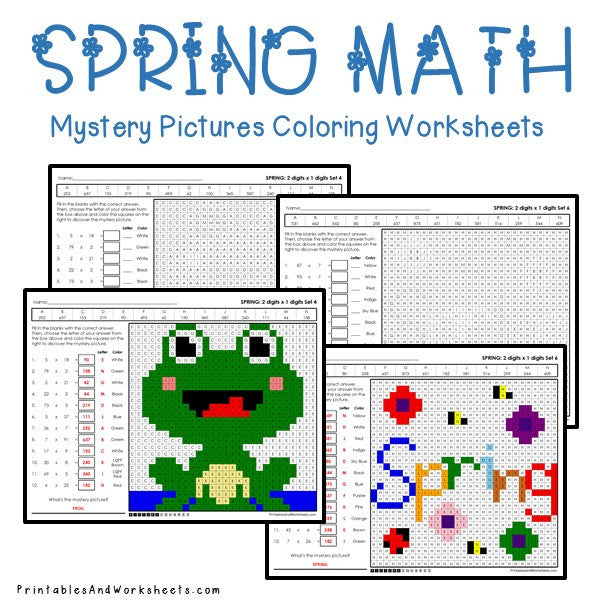 Spring Coloring Worksheets - Multiplication