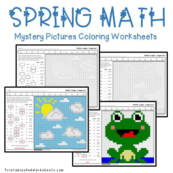 Spring Coloring Worksheets - Subtraction