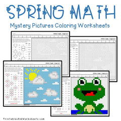 Spring Subtraction Mystery Pictures Coloring Worksheets