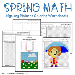Spring Math Mystery Pictures Coloring Worksheets Bundle