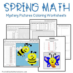 Spring Math Coloring Worksheets