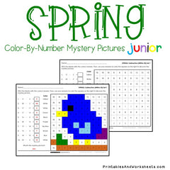 Spring Subtraction Facts Color-By-Number