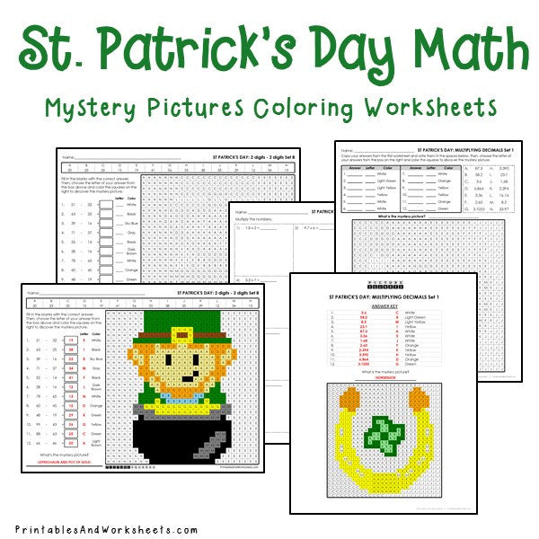 St. Patrick's Day Math Mystery Pictures Coloring Worksheets Bundle -  Printables & Worksheets