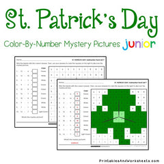 St. Patrick's Day Subtraction Facts Color-By-Number