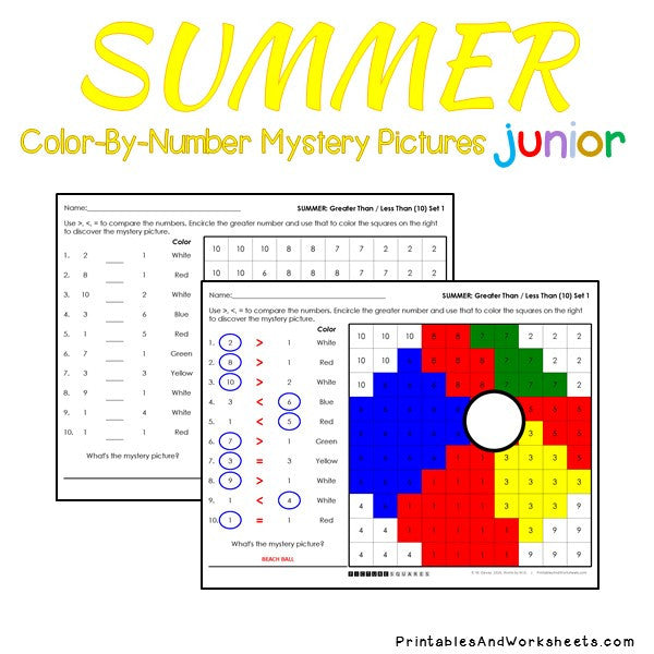 Summer Color-By-Number: Counting to 20, Greater Than/Less Than