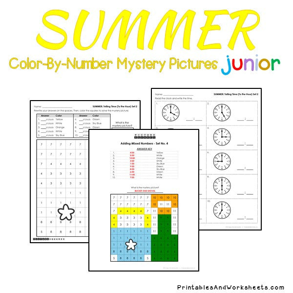 Summer Color-By-Number: Telling Time