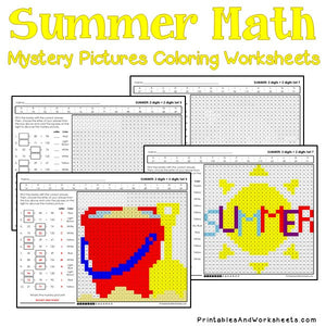 Summer Coloring Worksheets - Addition