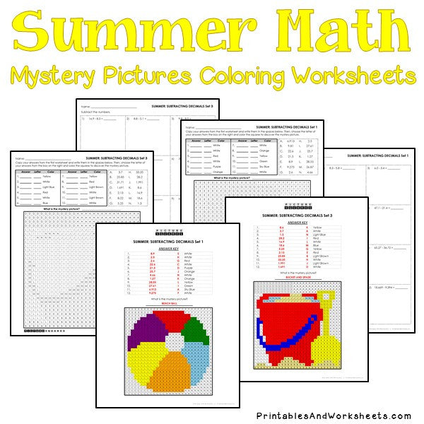 Summer Coloring Worksheets - Decimals