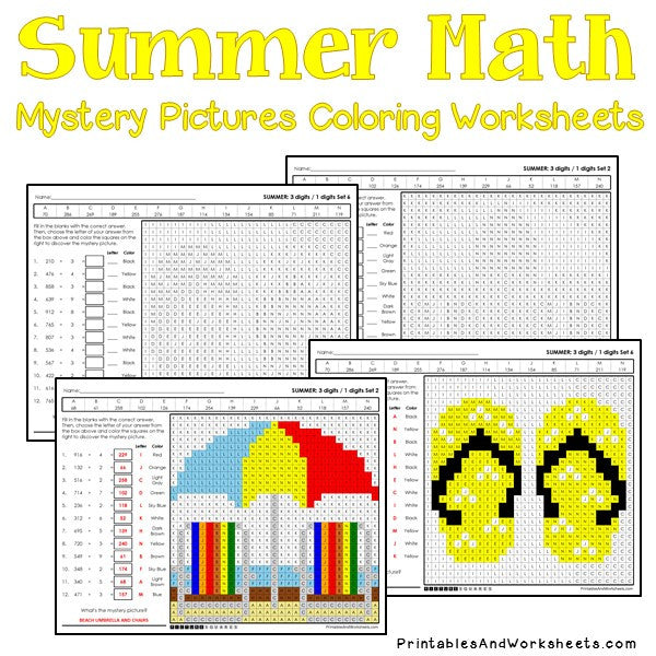 Summer Coloring Worksheets - Division