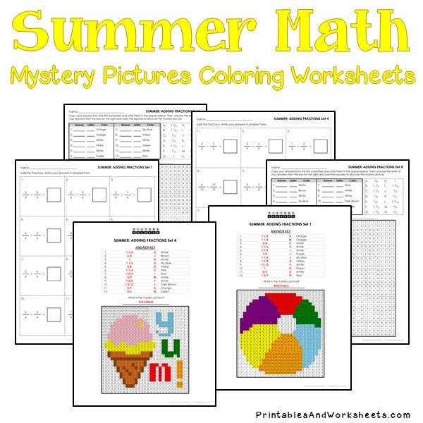 Summer Coloring Worksheets - Fractions