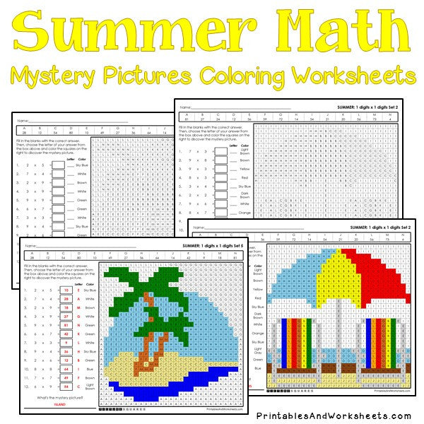 Summer Coloring Worksheets - Multiplication