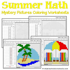 Summer Multiplication Mystery Pictures Coloring Worksheets