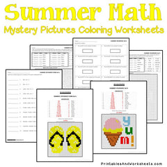 Summer Place Value Mystery Pictures Coloring Worksheets