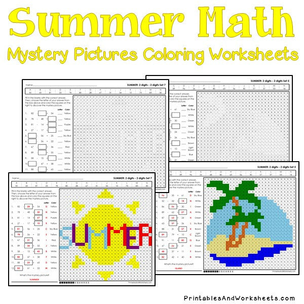 Summer Coloring Worksheets - Subtraction