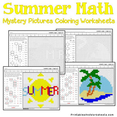 Summer Subtraction Mystery Pictures Coloring Worksheets