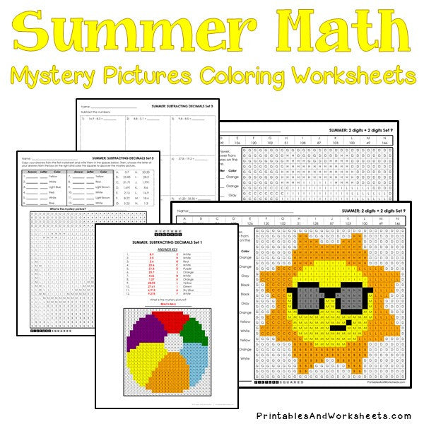 Summer Coloring Worksheets -Math