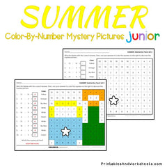 Summer Subtraction Facts Color-By-Number