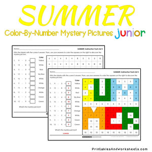 Summer Color-By-Number: Subtraction