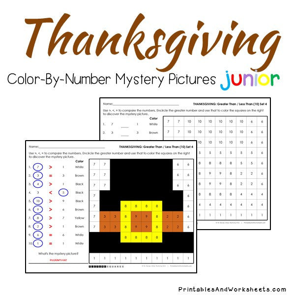 Thanksgiving Color-By-Number: Counting to 20, Greater Than/Less Than