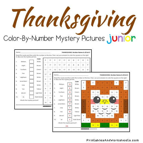 Thanksgiving Color-By-Number: Place Value