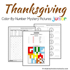 Thanksgiving Telling Time Color-By-Number
