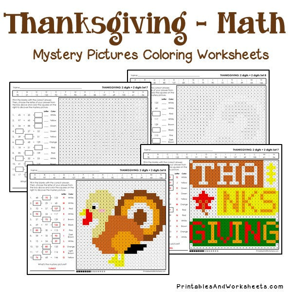 Thanksgiving Coloring Worksheets - Addition