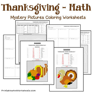 Thanksgiving Coloring Worksheets - Decimals