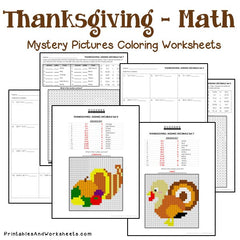 Thanksgiving Decimals Mystery Pictures Coloring Worksheets