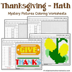 Thanksgiving Division Mystery Pictures Coloring Worksheets