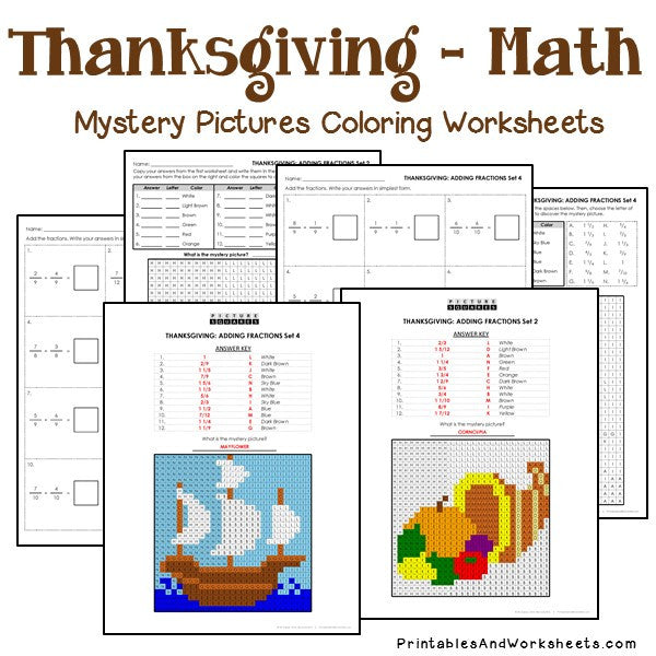 Thanksgiving Fractions Mystery Pictures Coloring Worksheets - Printables &  Worksheets