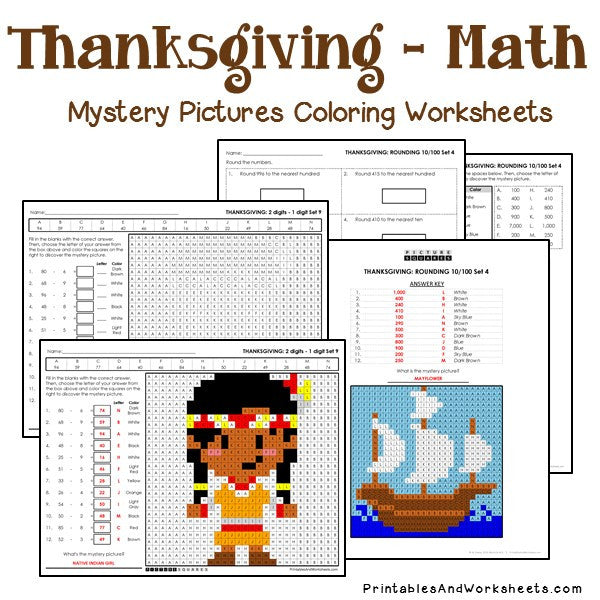 Thanksgiving Math Mystery Pictures Coloring Worksheets Bundle - Printables  & Worksheets