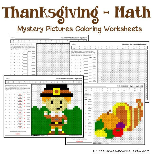 Thanksgiving Multiplication Mystery Pictures Coloring Worksheets -  Printables & Worksheets